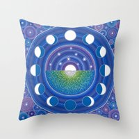 moon phase Throw Pillows featuring Moon Phase Mandala by Elspeth McLean