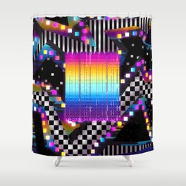 Retro Glowing Poster Shower Curtain