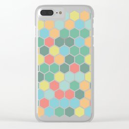 Texture hexagons - Spring's colors Clear iPhone Case