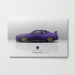 R34 Nissan Skyling GTR Midnight Purple Metal Print
