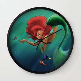 mermaids and nemo Wall Clock