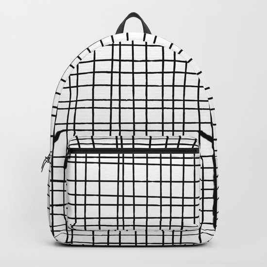 Hand drawn Grid Pattern-Black on White-Mix & Match with Simplicity  of life Backpack