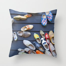 Wodden shoes Throw Pillow