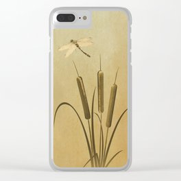 Cattails And Dragonfly Clear iPhone Case