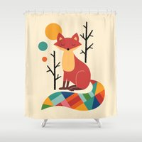 fox Shower Curtains featuring Rainbow Fox by Andy Westface