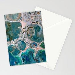 Blue Unique Fluid Pour Acrylic Painting Stationery Cards
