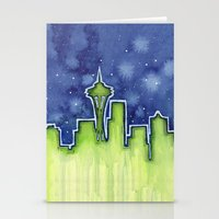seattle Stationery Cards featuring Seattle  by Olechka