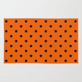 Orange and Black Stars Pattern Rug