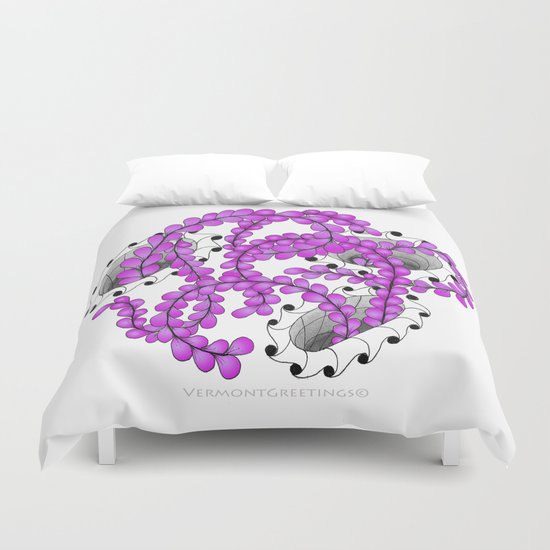 Zentangle Spring Fuchia Flower Illustration  Duvet Cover