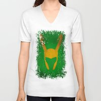 loki V-neck T-shirts featuring Loki by Some_Designs