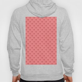 Burgundy Red on Coral Pink Snowflakes Hoody