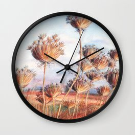 Queen Anne's lace_pastel art Wall Clock