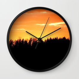 Black Forest Silhouette In Orange Sunset #decor #society6 Wall Clock