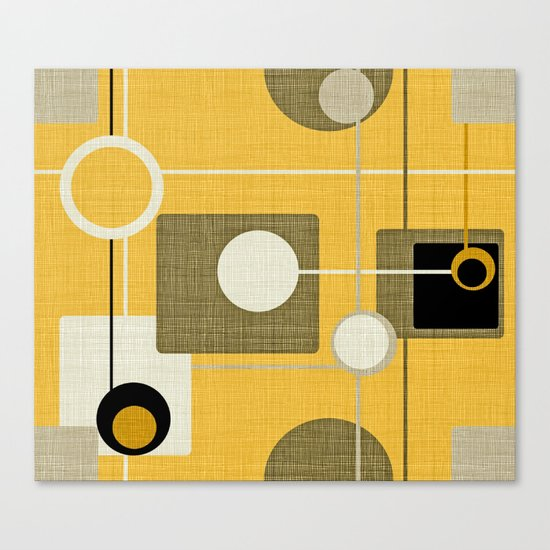 orbs and square gold yellow Canvas Print