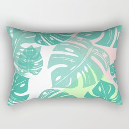 Linocut Monstera Tricolori Rectangular Pillow