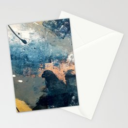 Wander [2]: a vibrant, colorful, abstract in blues, pink, white, and gold Stationery Cards