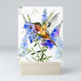 Alen's Hummingbird and Blue Flowers, floral bird design birds, watercolor floral bird art Mini Art Print