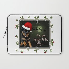 Tis The Season To Be Jolly Cute Rottweiler Christmas Laptop Sleeve