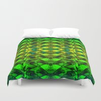 green pattern Duvet Covers featuring Green pattern. by Assiyam
