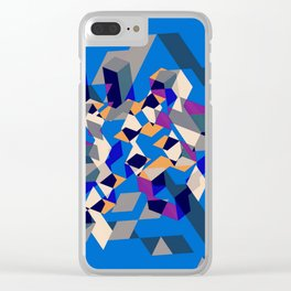 Blue collage Clear iPhone Case