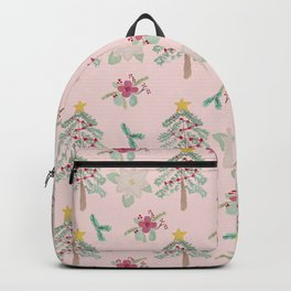 Christmas Pattern Pink Backpack