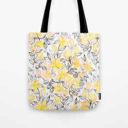 Sunny Yellow Crayon Striped Summer Floral Tote Bag