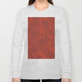 Zebra Stampede in Rust Red Long Sleeve T-shirt