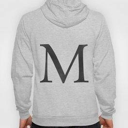 Letter M Initial Monogram Black and White Hoody