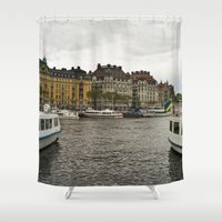 sweden Shower Curtains featuring Stockholm, Sweden boats by Jeremiah Wilson