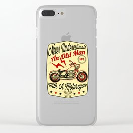 Never Underestimate An Old Man graphic Gift for Grandpa Biker Clear iPhone Case