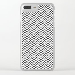 Black & White Hand Drawn ZigZag Pattern Clear iPhone Case