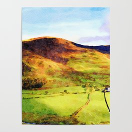 Looking Down to Buttermere Valley, Lake District, UK.  Watercolor Painting Poster