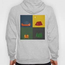 Camping Series: Canoe, Tent, Fire, Trees Hoody
