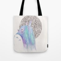 studio ghibli Tote Bags featuring studio ghibli zentangle by Clara Lucie P