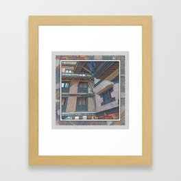 BHAKTAPUR NEPAL BRICKS WINDOWS WIRES Framed Art Print