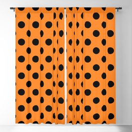 Halloween Black Orange Polka Dot Blackout Curtain