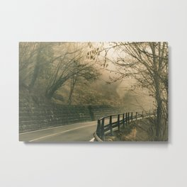 Tuscany Environment Foggy Empty Highway Metal Print