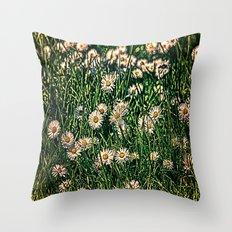 Daisy Carpet Dark Throw Pillow
