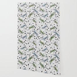 Dragonflies in the garden Wallpaper
