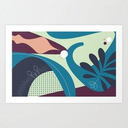 Floral Pattern Blue Shades Art Print