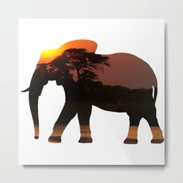 Elephant Silhouette with Africa Scene Inlay Metal Print