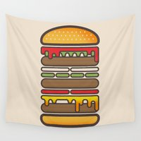 hamburger Wall Tapestries featuring All On A Sesame Seed Bun by sonsofwolves