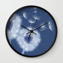 Love Blue Dandelions Hearts Design Wall Clock