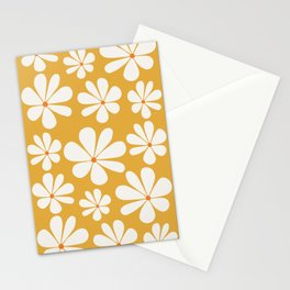 Floral Daisy Pattern - Golden Yellow Stationery Cards
