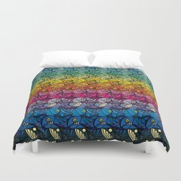 Escher Fish Rainbow Pattern Duvet Cover