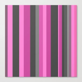 pink and gray stripes Canvas Print