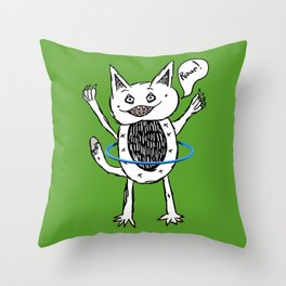 Monster Hula Hoop Throw Pillow