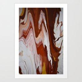 Red Burgundy Fluid Liquid Marble Flow Painting - Lava Flow II Art Print