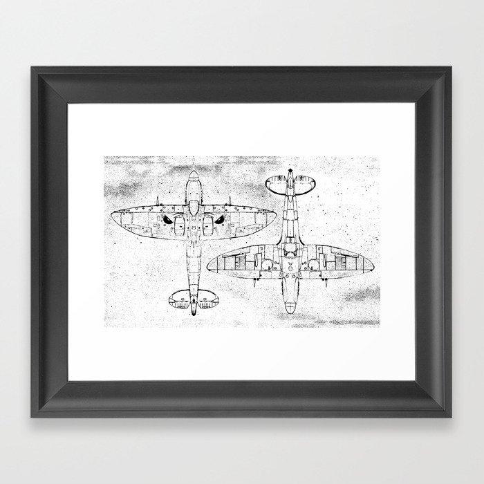 Spitfire Mk. XIV (black) Framed Art Print