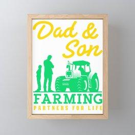 Dad Son Farming Farmers Farm Farmer Tractor Agriculture Gift Framed Mini Art Print